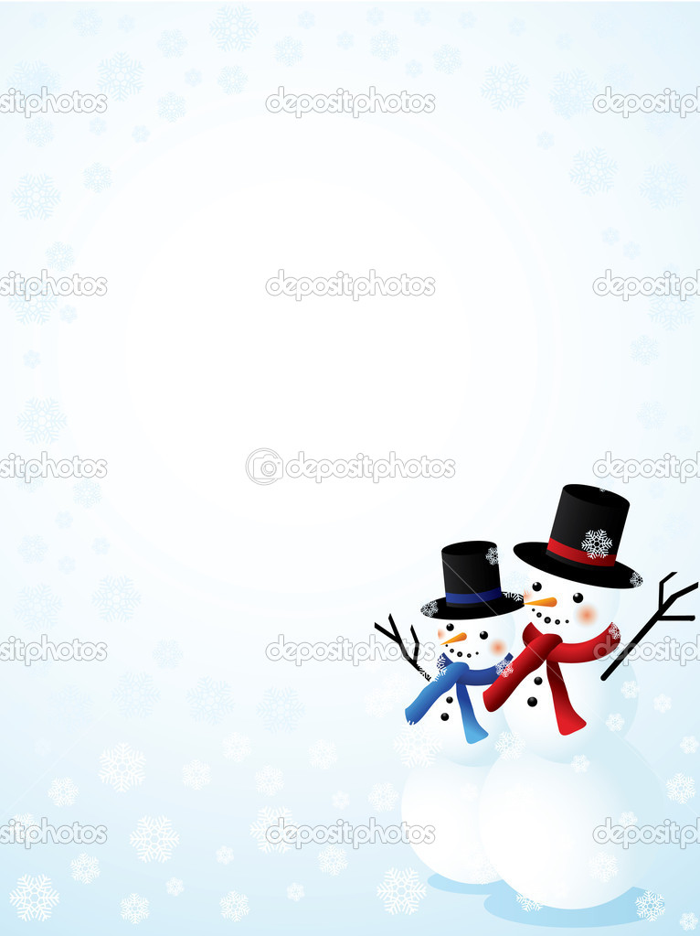 Vector background with two snowmen — Stock Vector #4110218