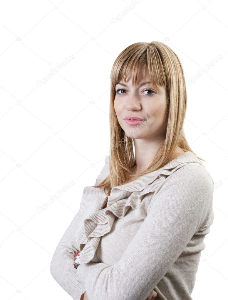 Portrait of a young attractive business woman against white background — Stock Photo #4286838
