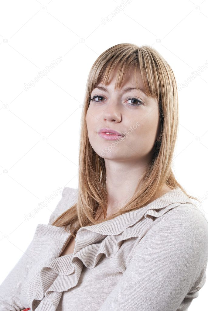 Portrait of a young attractive business woman against white background — Stock Photo #4286902