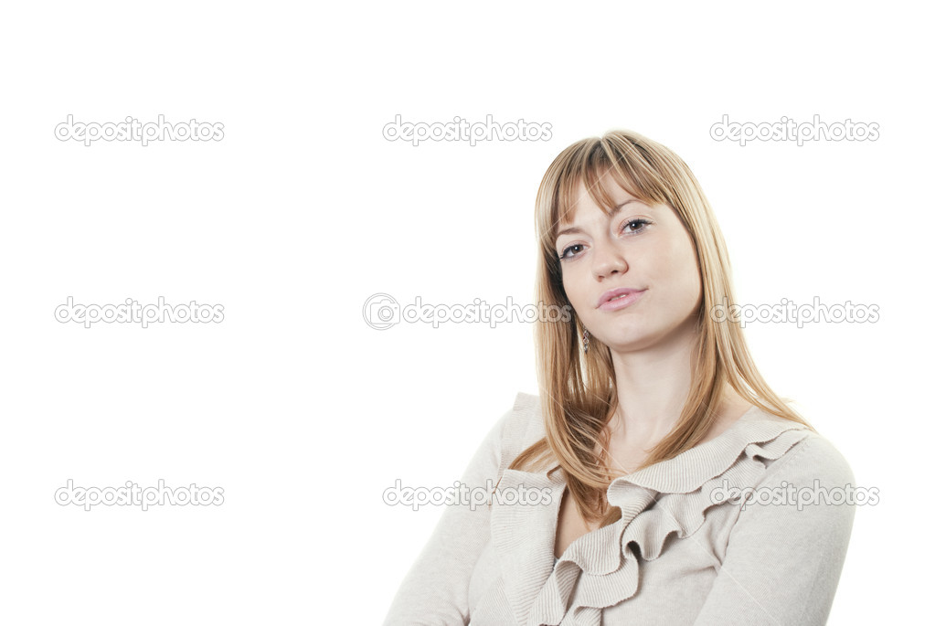Portrait of a young attractive business woman against white background — Stock Photo #4286947