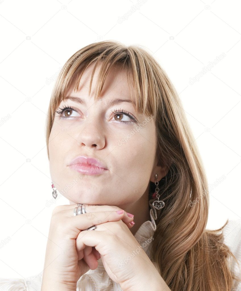 Closeup of a young attractive woman thinking  Stock Photo #4287043