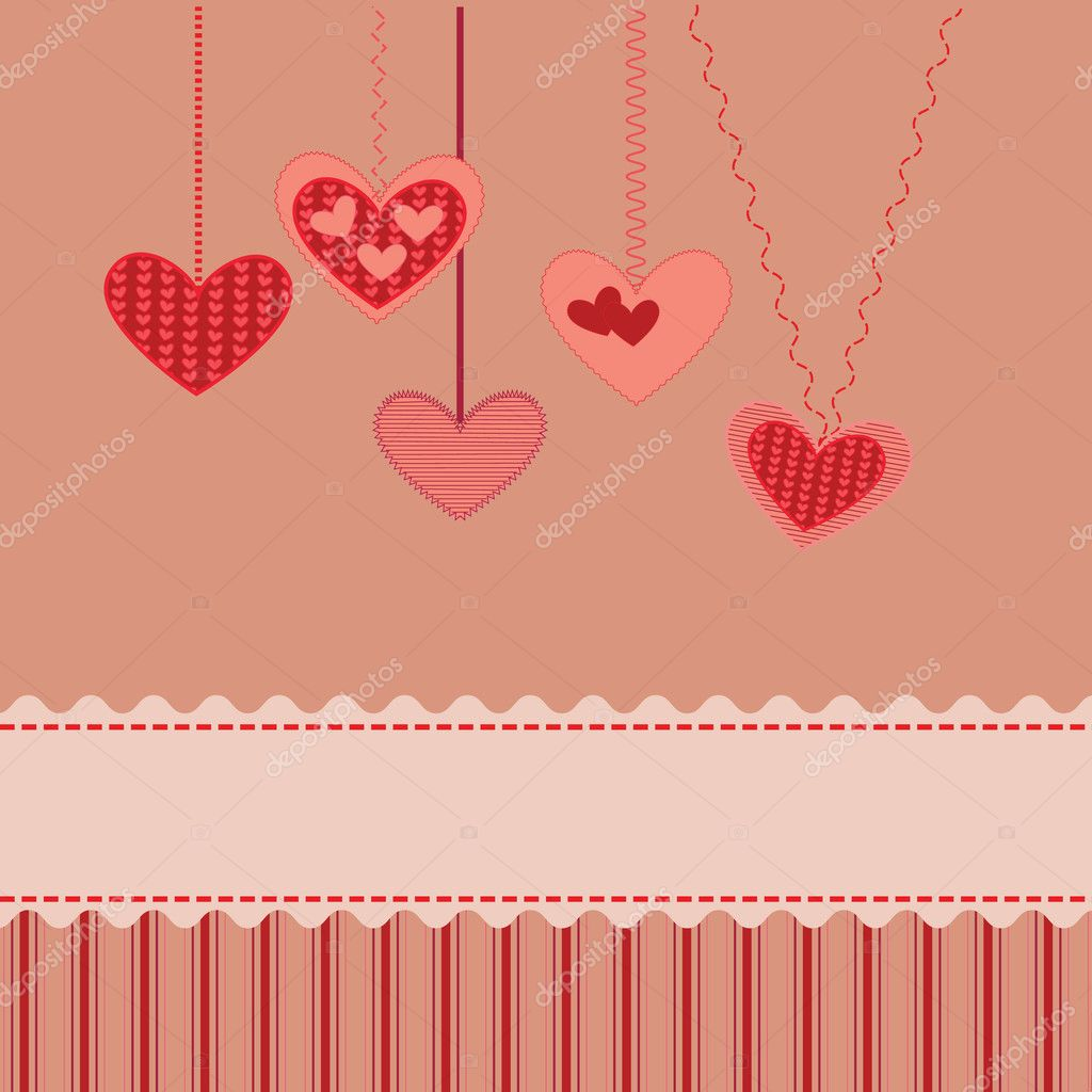 Vector valentine card with decorative hearts  Stock Vector #4710050