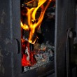 Stock Photo: Fire in furnace