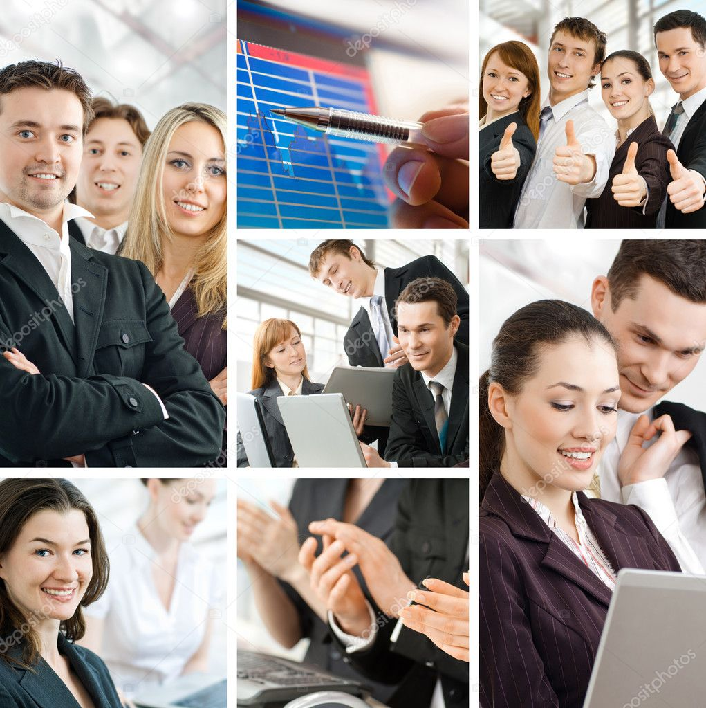 Team of successful smiling young business — Stock Photo #3946846