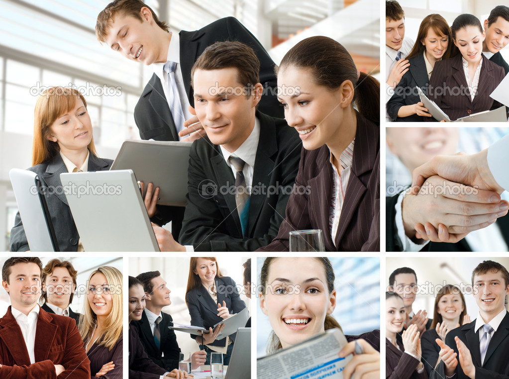 Team of successful smiling young business — Foto de Stock   #3946848