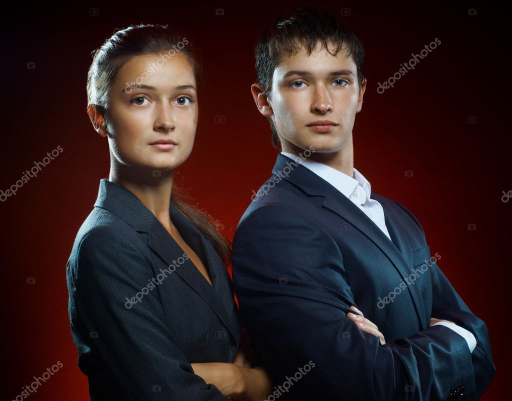 Team of successful serious young business — Stock Photo #3946850