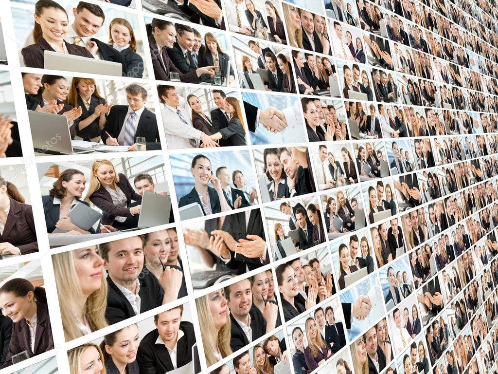 Team of successful smiling young business — Stock Photo #4043060