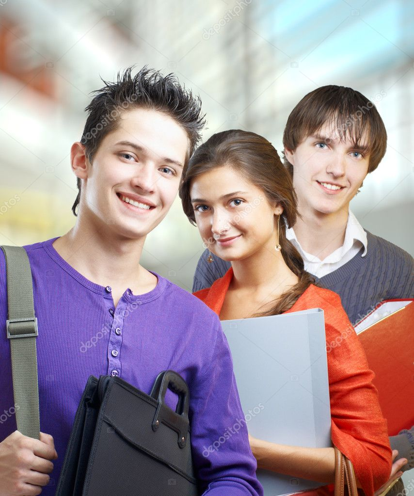 A group of joyful and friendly students  Stock Photo #4043119