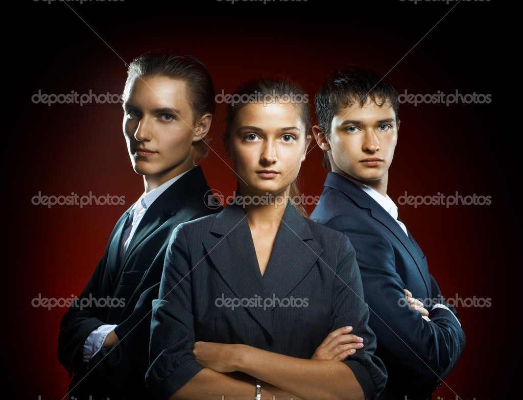 Team of successful serious young business  Stock Photo #4276420