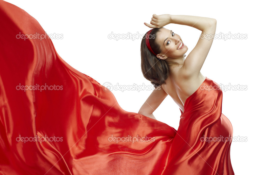 Beautiful young woman in red long dress — Stockfoto #4276460