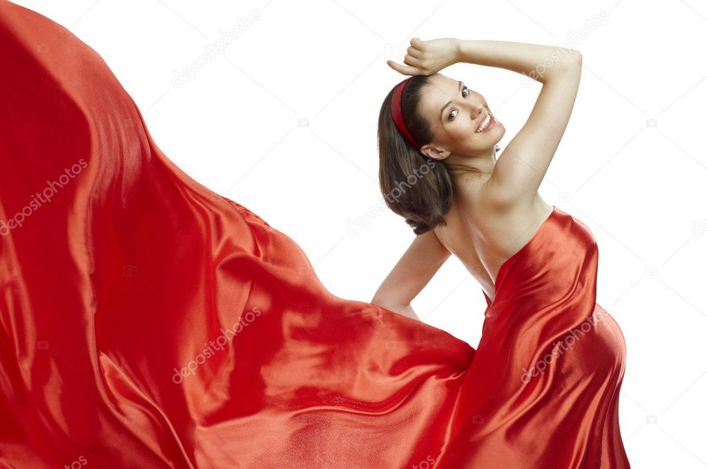 Beautiful young woman in red long dress — Stok fotoğraf #4276460