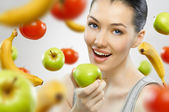 Eating healthy fruit — Stock Photo