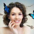 Butterfly woman — Stockfoto