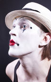 Portrait of pantomime actor with makeup — Stock Photo