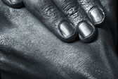 Male hands in silver paint — Stock Photo
