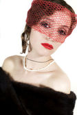 Retro retrato de mujer joven hermosa en velo — Foto de Stock