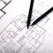 Plans for residential flats with pencil — Stock Photo