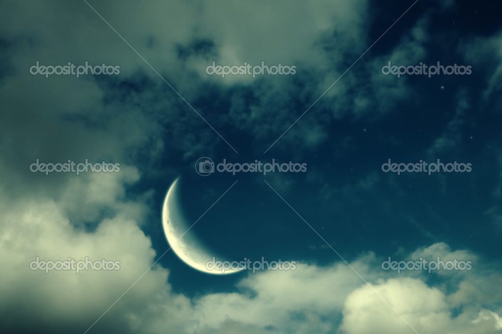Fantastic night landscape with the big moon, clouds and stars — Stock Photo #4912906
