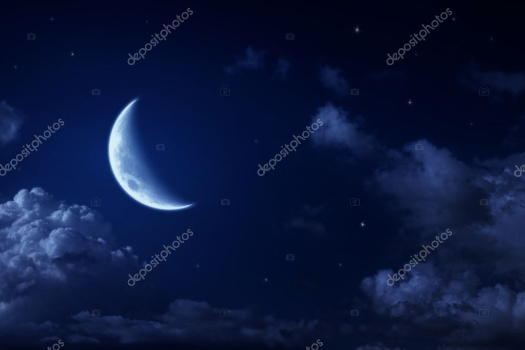 Big moon and stars in a cloudy night blue sky. fantastic beautiful landscape — Stock Photo #4926005