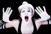 Funny screaming mime — Stock Photo