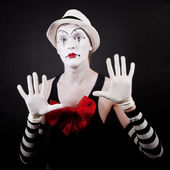 Theater actor in makeup funny mime — Stock Photo