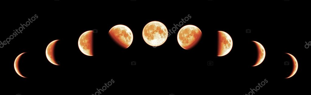 Nine phases of the full growth cycle of the red moon isolated on black background — Stock Photo #4942751