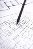 Architectural plan of dwelling house with pencil — Stock Photo