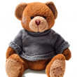 Toy teddy brown bear with patches in green sweater — Stock Photo #5047484