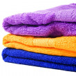 Purple, yellow and blue towel isolated — Stock Photo