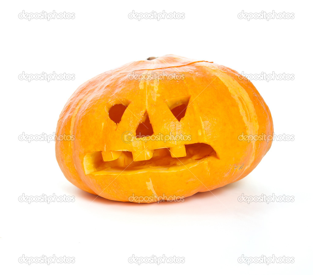 Jack-o-lantern pumpkin isolated on white background — Stock Photo #3964739