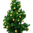 Artificial christmas pine tree isolated on white background — Stock Photo