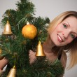 Portrait of a beautiful young woman over christmas three — Stock Photo