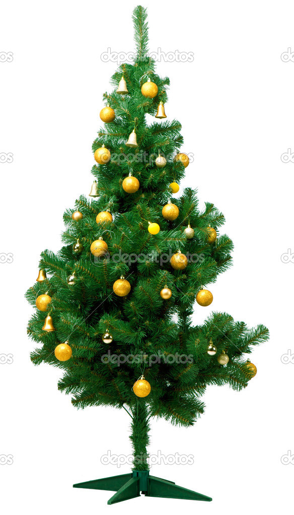 Artificial christmas pine tree isolated on white background — Stock Photo #4267582