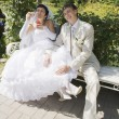 Bride and Groom Sitting On A Park Bench — Stock Photo #5249537