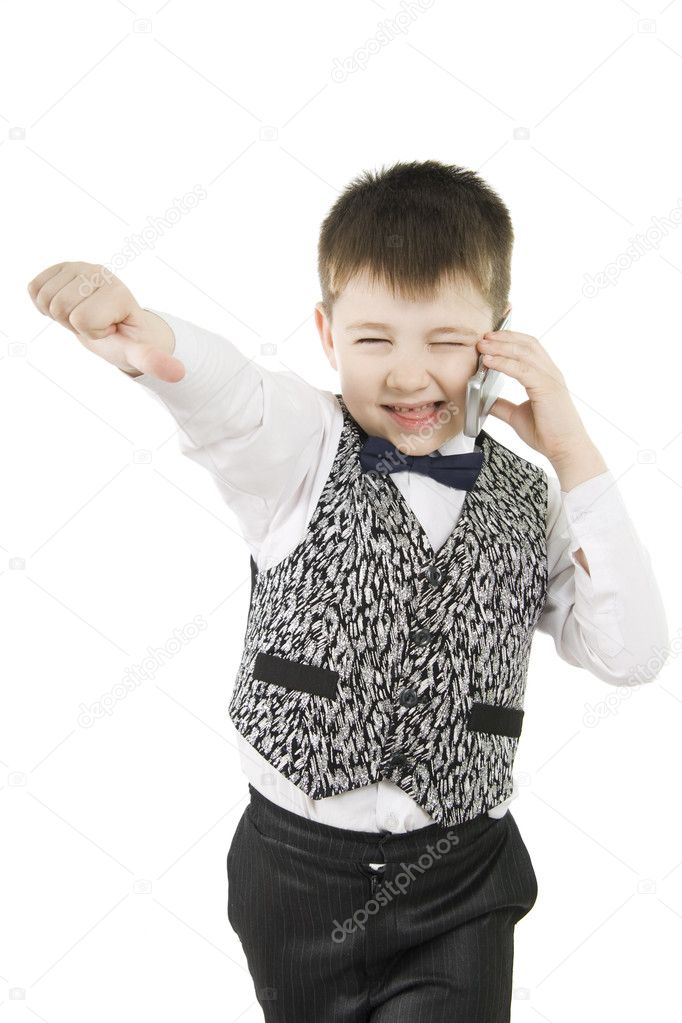 Fun boy with thumbs down on white background — Stock Photo #5247544
