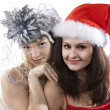 Two friend girl celebrate New Year. — Stock Photo #5254440