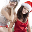 Two friend girl celebrate New Year. — Stock Photo #5254477