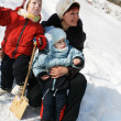 Winter walk of a family — Stock Photo