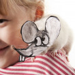 Stock Photo: Fun childl and rat in mask of rat