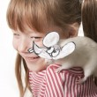 Fun childl and rat in a mask of a rat — Stock Photo