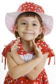Fan little girl smiling. — Stock Photo