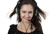 Beautiful Woman Listening Music — Stock Photo