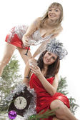 Two friend girl celebrate New Year. — Stock Photo
