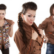 Two different girl show fashionable stylish clothes - Stock Photo