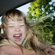 Kid on a road trip. — Stock Photo