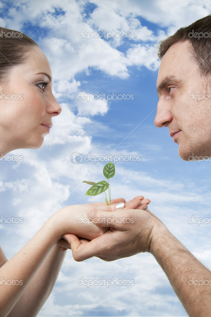 Man and woman hold a small plant in the hands  Stock Photo #5260154