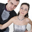 Stock Photo: Relations of loving Couples in Solemn Clothes on white bac