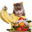 Vegetables and fruit it are a healthy food of children. — Stock Photo