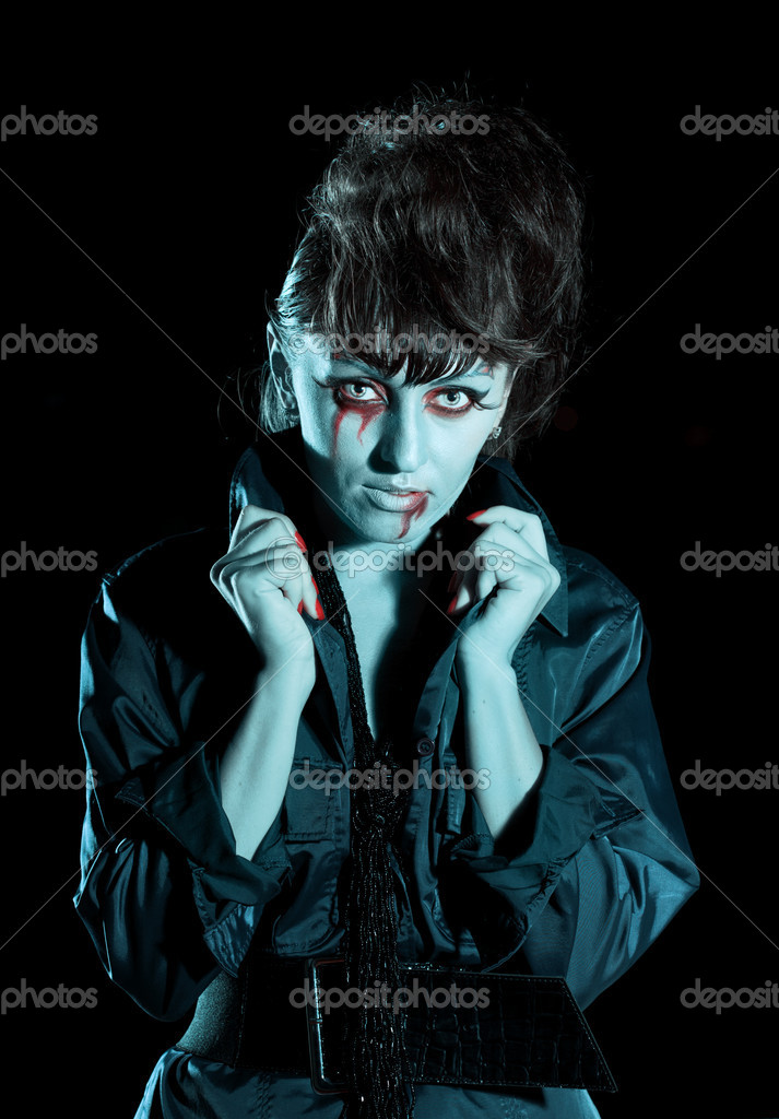 Woman as a vampire. Halloween face art — Stock Photo #4060999