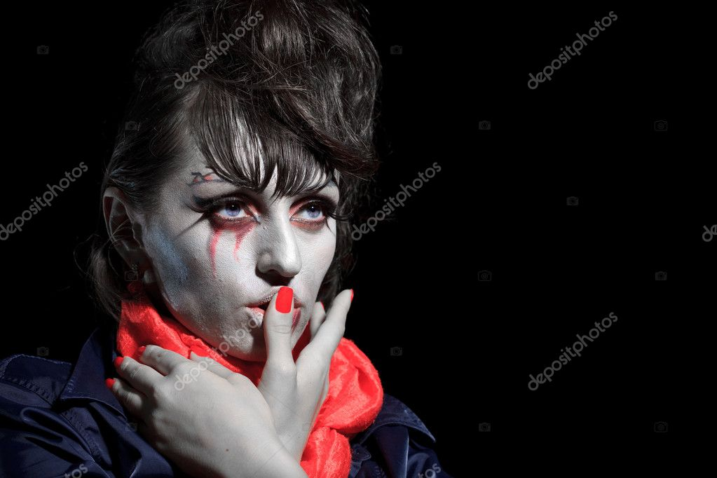 Woman as a vampire. Halloween face art — Stock Photo #4061026